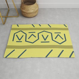 Line Lining on Yellow Strips Rug