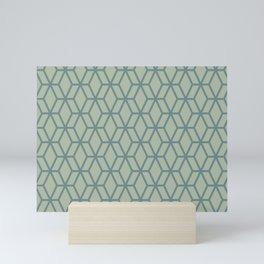 Aqua and Green Geometric Tessellation Pattern 16 2021 Color of the Year Aegean Teal Salisbury Green Mini Art Print
