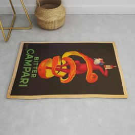 Vintage Orange-Green Motif Bitter Campari Aperitif Advertisement Print Poster Rug