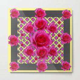Fuchsia Roses Yellow-Grey Art Metal Print