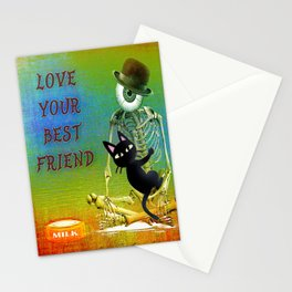 """Love your best friend"" ( Whim and Monsieur Bone) By Batkei and Joe Ganech Stationery Cards"