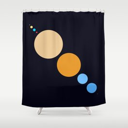 Planets To Scale (Diagonal) Shower Curtain