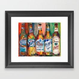 Bud light Miller Lite Coors Light Busch Light Yuengling Light Combo Beer Art Print Framed Art Print
