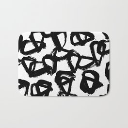 Painted Geometric Black and White Bath Mat