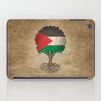 palestine iPad Cases featuring Vintage Tree of Life with Flag of Palestine by Jeff Bartels