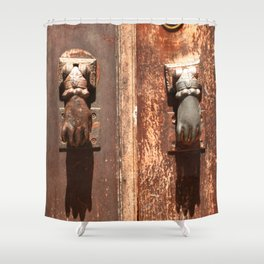 Antique wooden door with hand knockers Shower Curtain
