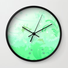 Dolphins Swimming Wall Clock