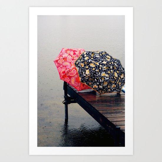 Rainy Day Friends Art Print