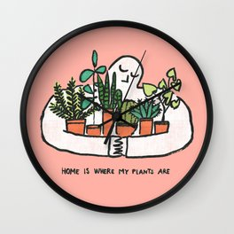 Home is where my plants are Wall Clock