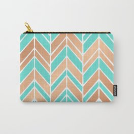 Intermittent Herringbone – Rose Gold & Mint Palette Carry-All Pouch