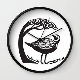 Golden Plover Standing Tree Tribal Art Wall Clock