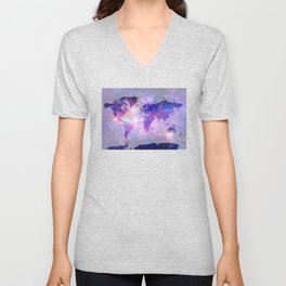 world map galaxy Unisex V-Neck