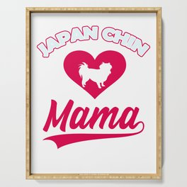 Japanese dog Mama with big heart for cute dogs and puppies Serving Tray