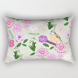 Joyful spring pink toned floral pattern with bird Rectangular Pillow