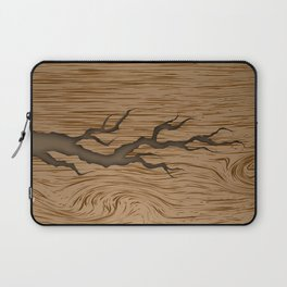crack in the tree cracked piece of wood with shadow and texture Laptop Sleeve