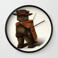 ewok Wall Clocks featuring Clint Ewok by Kirye
