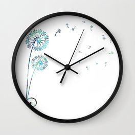 Dandelion Paua White Wall Clock