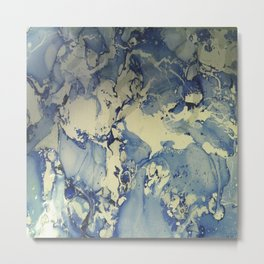 Shadows in Blue and Cream, Marble Metal Print