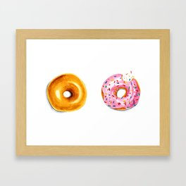 Two donuts in watercolor Framed Art Print