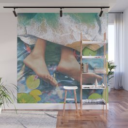 Sleeping on a Pond With Blanket Made of Waves | Digital Art Wall Mural