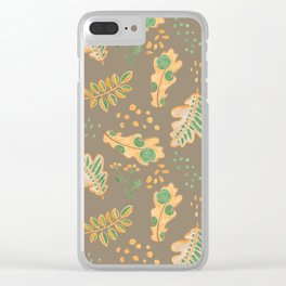 Yellow Oak Leaves Autumn Pattern, Crayon Drawing Clear iPhone Case