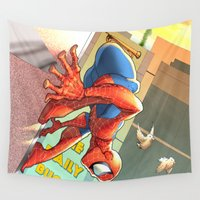 spider man Wall Tapestries featuring Spider Man by Brian Hollins art