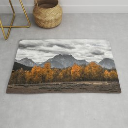 Teton Fall - Autumn Colors and Grand Tetons in Black and White Rug