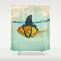 aqua Shower Curtains featuring Brilliant DISGUISE by Vin Zzep