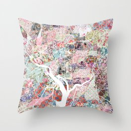 Washington map flowers Throw Pillow