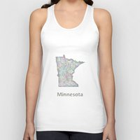minnesota Tank Tops featuring Minnesota map by David Zydd