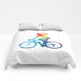 Woman triathlon cycling 03 Comforters