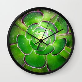 Radiant green and purple succulent plant Wall Clock