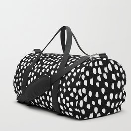 Handdrawn drops and dots on black - Mix & Match with Simplicty of life Duffle Bag