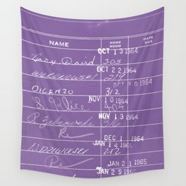 Library Card 23322 Negative Purple Wall Tapestry