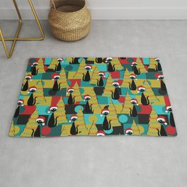 Retro Christmas Cats in Red Rug