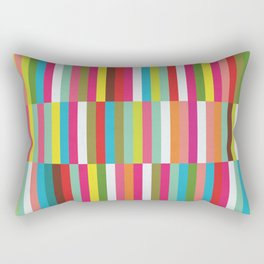 Bright Colorful Stripes Pattern - Pink, Green, Summer Spring Abstract Design by Rectangular Pillow