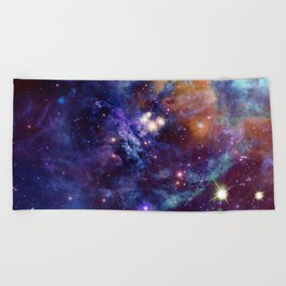 Bright nebula Beach Towel