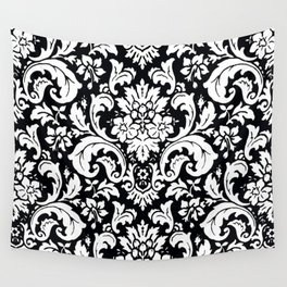 Damask Paisley Black and White Paisley Pattern Vintage Wall Tapestry