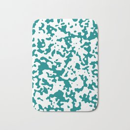 Spots - White and Dark Cyan Bath Mat