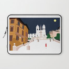 Spanish Steps in Snowy Rome Laptop Sleeve