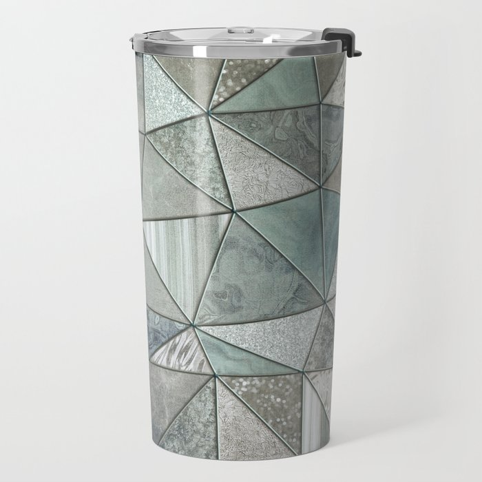 Teal And Grey Triangles Stained Glass Style Travel Mug