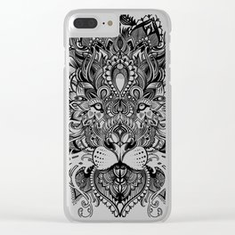 Black And White Geometric pattern mandala lion face Clear iPhone Case