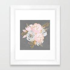 Night Rose Garden Gray Framed Art Print