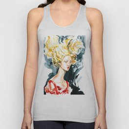 fashion #56: Girl in a yellow wig and red dress Unisex Tank Top