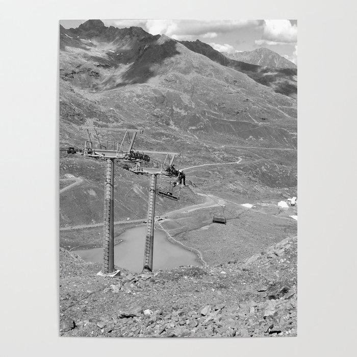 Chairlift Repair Kaunertal Alps Tyrol Austria Europe Black White Poster