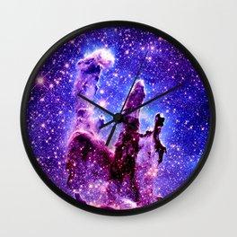 Galaxy Nebula : Pillars of Creation Purple Blue Wall Clock