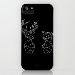 Geometric Stag and Doe (White on Black) iPhone Case