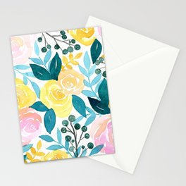 Tropical Pink Teal + Yellow Floral Print  Stationery Cards