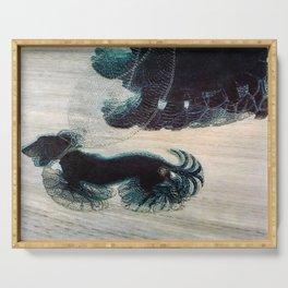 Dynamism of a Dog on a Leash, Vintage Minimalist Art Serving Tray