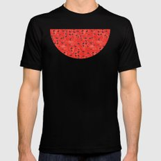 Watermelon Pattern MEDIUM Black Mens Fitted Tee